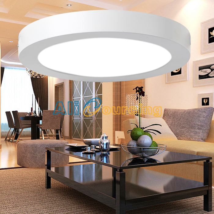 12 24w led panel deckenleuchte deckenlampe aufputz aufbau flach rund lampe alu ebay. Black Bedroom Furniture Sets. Home Design Ideas