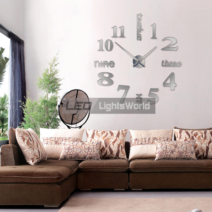 xxl 3d wanduhr designer wand uhr dekoration wandtatoo wohnzimmer spiegel silber ebay. Black Bedroom Furniture Sets. Home Design Ideas