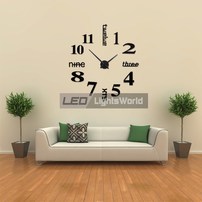 design wanduhr wand uhr wohnzimmer spiegel wandtattoo deko xxl 3d schwarz ebay. Black Bedroom Furniture Sets. Home Design Ideas
