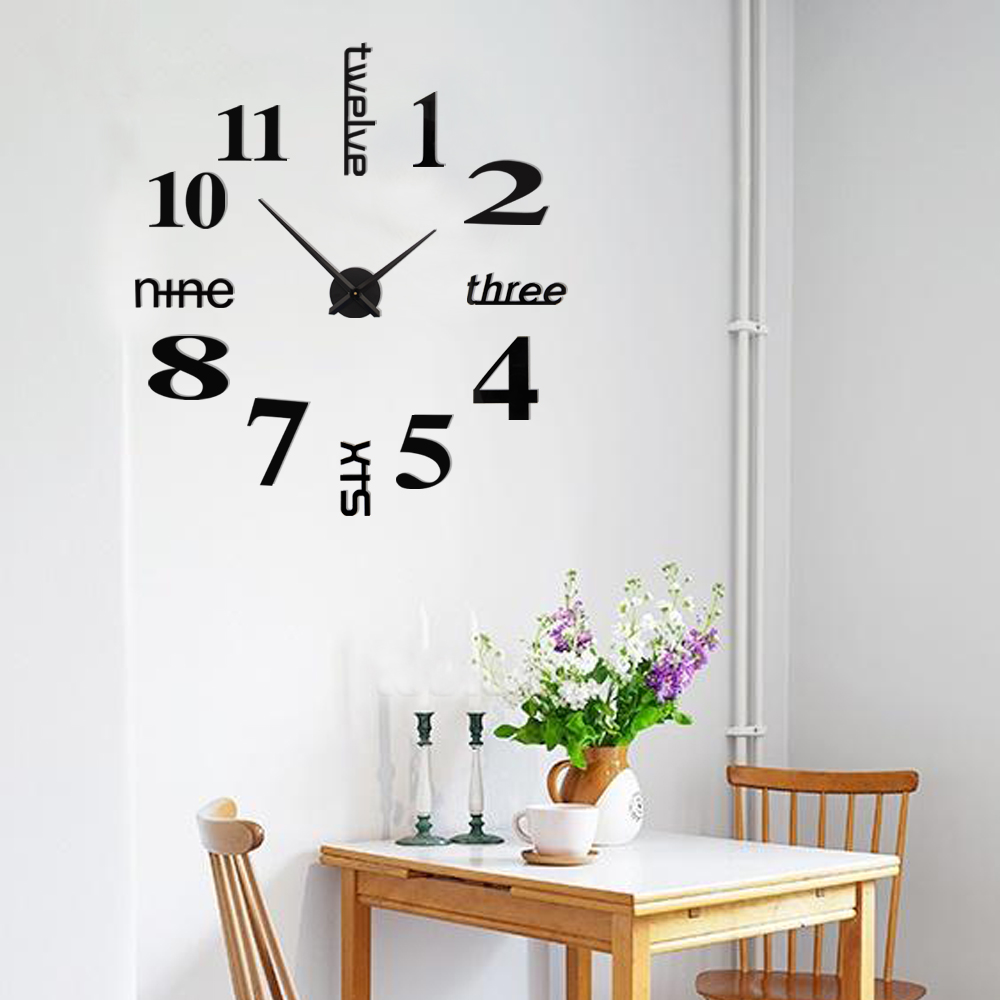 design wanduhr quartz moderne k chenuhr b rouhr spiegel wandtattoo deko xxl 3d ebay. Black Bedroom Furniture Sets. Home Design Ideas