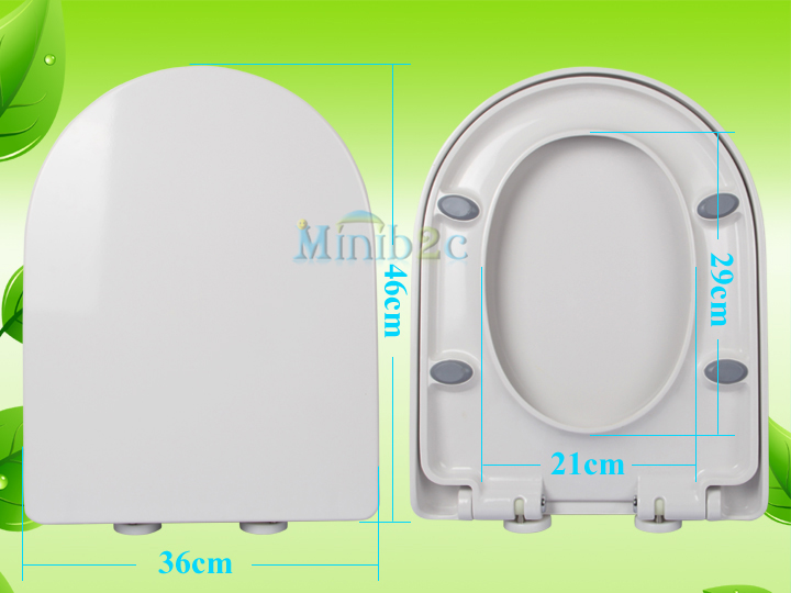 WHITE SOFT CLOSE HEAVY DUTY D SHAPE TOILET SEAT ANTI SLAM Bottom Fixing Hinge