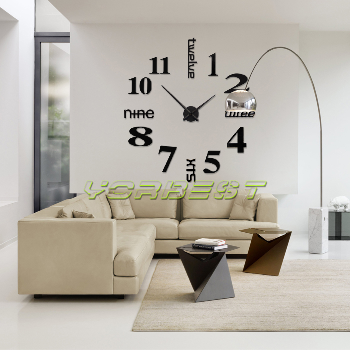 design wand uhr wohnzimmer wanduhr b ro spiegel wandtattoo deko xxl 3d schwarz ebay. Black Bedroom Furniture Sets. Home Design Ideas